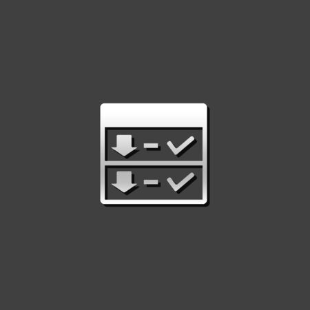 grey: Download interface icon in metallic grey color style. Internet web page file