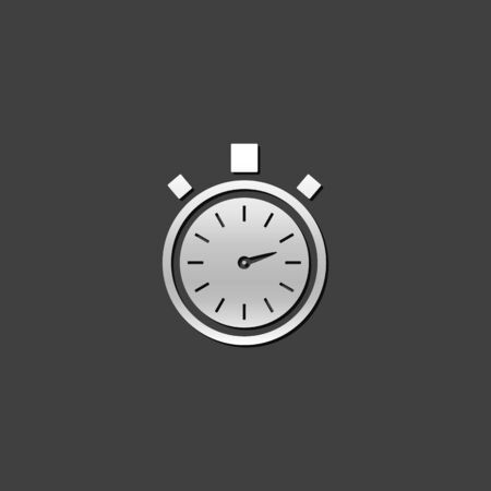 shiny metal: Stopwatch icon in metallic grey color style.Speed time deadline