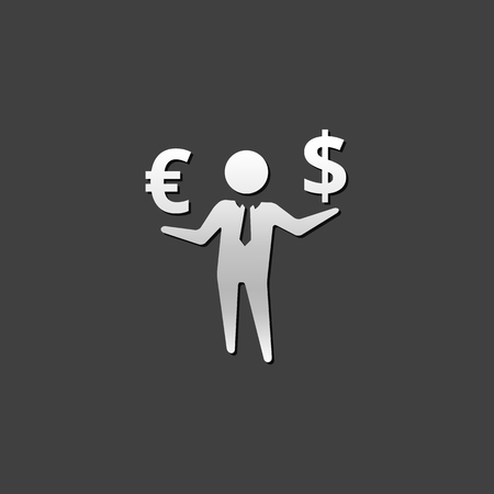 Businessman money icon in metallic grey color style. Business wealth dollar sign Illustration