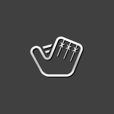 competitions: Baseball glove icon in metallic grey color style. Sport hand protection Illustration