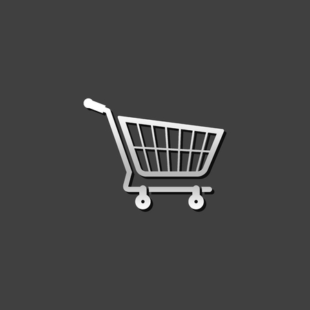 gift basket: Shopping cart icon in metallic grey color style. Buying ecommerce