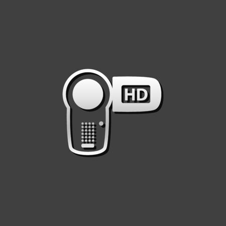 metallic: Camcorder icon in metallic grey color style. Videography movie recording