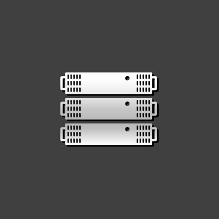 server rack: Server rack icon in metallic grey color style.Computer data file hosting