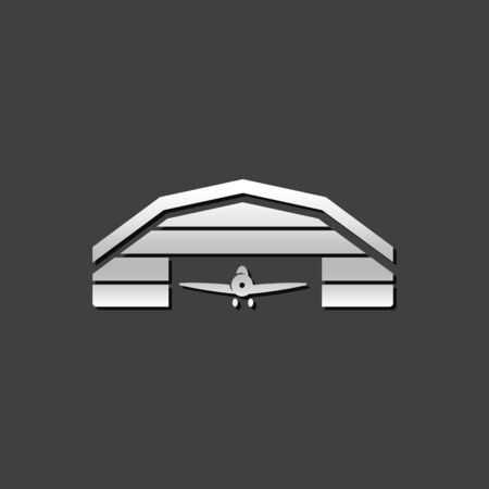 hangar: Airplane hangar icon in metallic grey color style. Aviation maintenance building Illustration