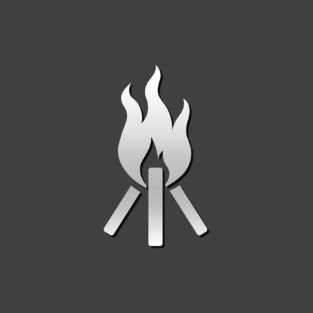 Camp fire icon in metallic grey color style. Camping burn wild fire Illustration