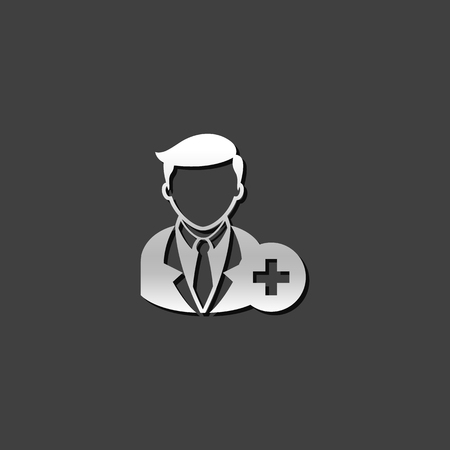 Businessman with plus sign icon in metallic grey color style. Business team recruit Illustration