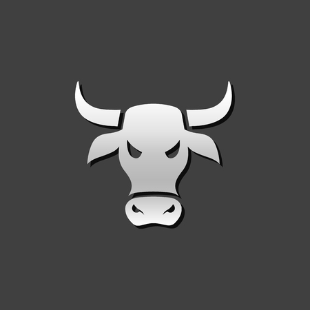grey: Bullish icon in metallic grey color style. Finance speculation trend