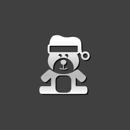 baby: Teddy bear icon in metallic grey color style. Christmas celebration gift Illustration