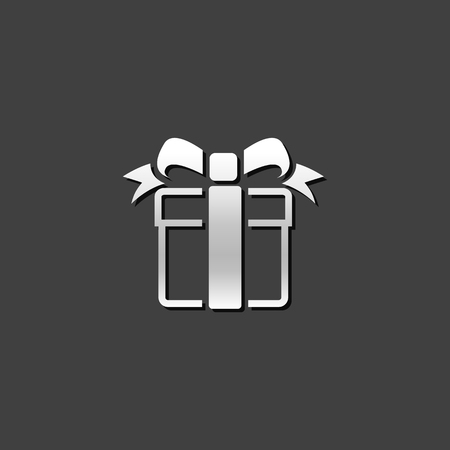ribbon: Gift box icon in metallic grey color style. Holiday Christmas birthday Illustration