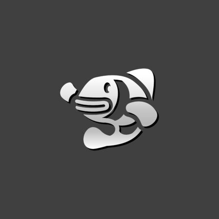 fish animal: Clown fish icon in metallic grey color style. Animal adorable coral reef Illustration