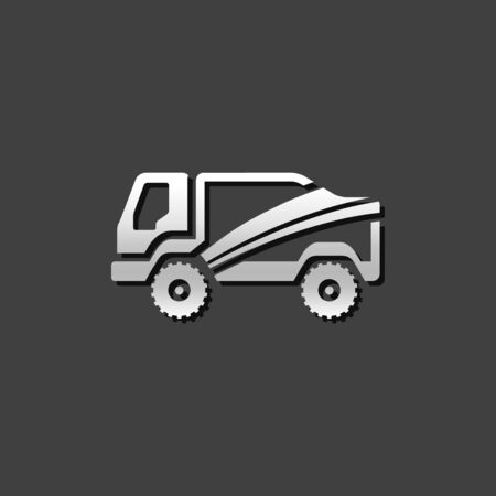 truck: Rally truck icon in metallic grey color style.Sport extreme race