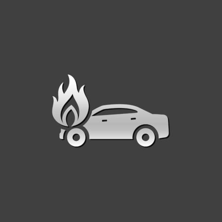 assist: Car on fire icon in metallic grey color style. Automotive accident accident