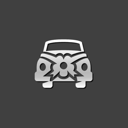 grey: Wedding car icon in metallic grey color style.