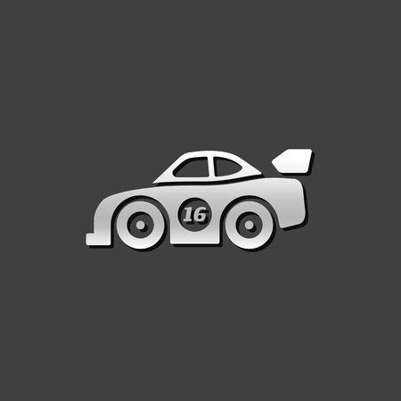 car speed: Race car icon in metallic grey color style. Sport automotive rally Illustration