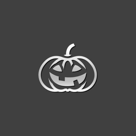 shiny metal: Pumpkin icon in metallic grey color style. Holiday object spooky Halloween