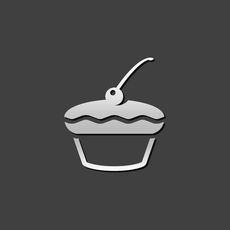 Cake icon in metallic grey color style. Food sweet delicious
