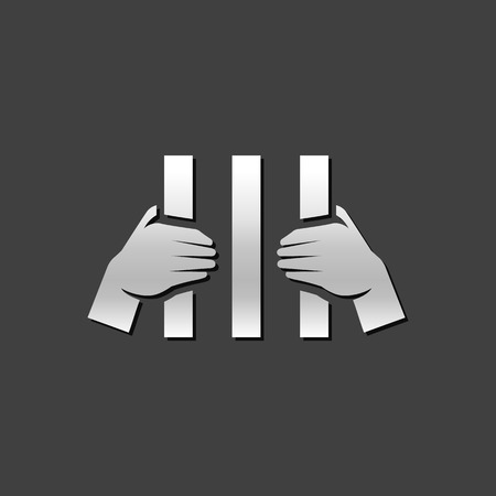 verdicts: Jail icon in metallic grey color style. Law guilty criminal