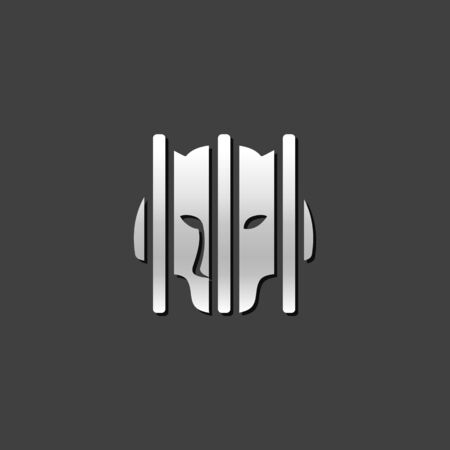 quarantine: Caged animal icon in metallic grey color style. Bear zoo quarantine