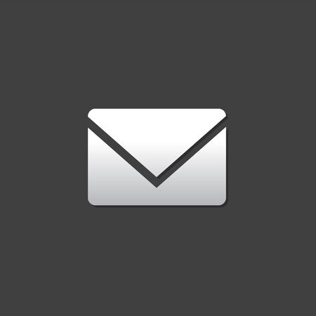 grey: Email icon in metallic grey color style. Envelope stamp post letter Illustration