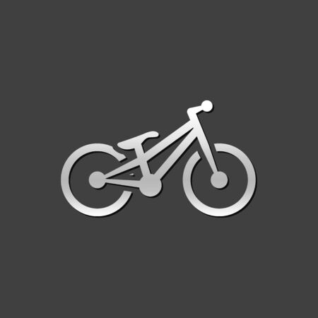 grey: Trial bicycle icon in metallic grey color style.sport athlete bike Illustration