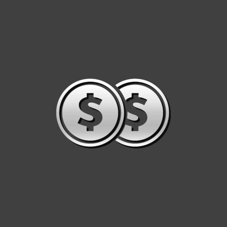 stock clip art icon: Coin money icon in metallic grey color style. Wealth finance investment Illustration