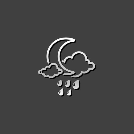 Weather overcast rainy icon in metallic grey color style. forecast night raining cloudy cold Illustration