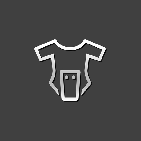 piece: Baby clothes icon in metallic grey color style. Apparel newborn body suit Illustration
