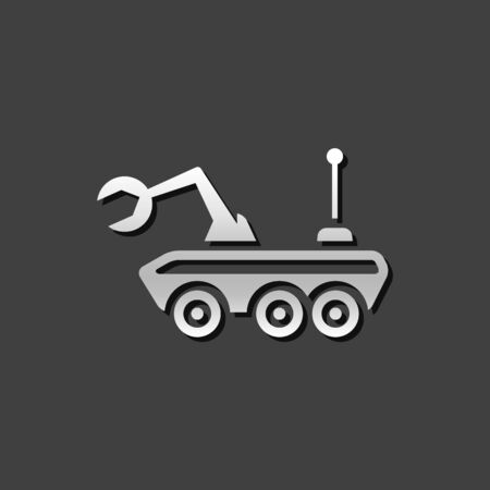 rover: Space rover icon in metallic grey color style.Vehicle exploration planet