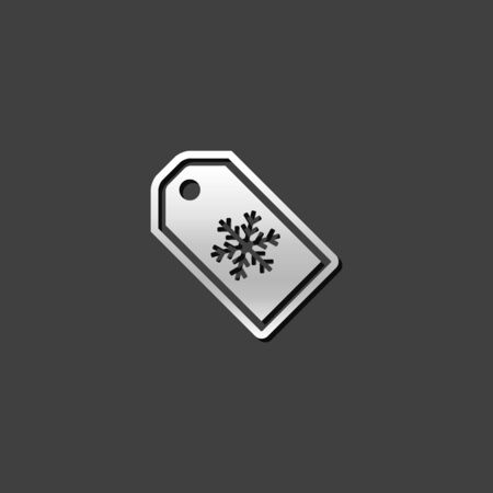 shiny metal: Winter sale icon in metallic grey color style. Shopping discount consumerism