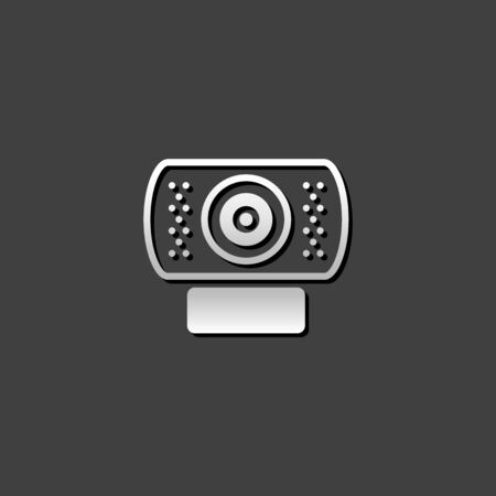 shiny metal: Webcam icon in metallic grey color style.Computer internet connection