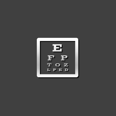 Eye test page icon in metallic grey color style. Letters small tiny