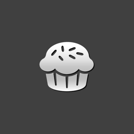 brown: Cake icon in metallic grey color style. Food sweet delicious