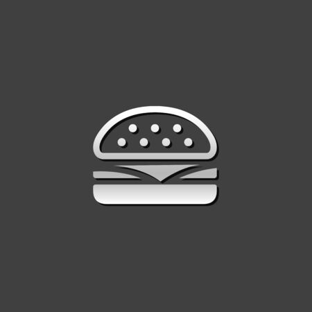 junk: Burger icon in metallic grey color style. Fast food junk American Illustration