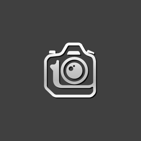 shutter: Camera icon in metallic grey color style. Photography digital SLR