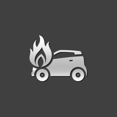 view: Car on fire icon in metallic grey color style. Automotive accident accident