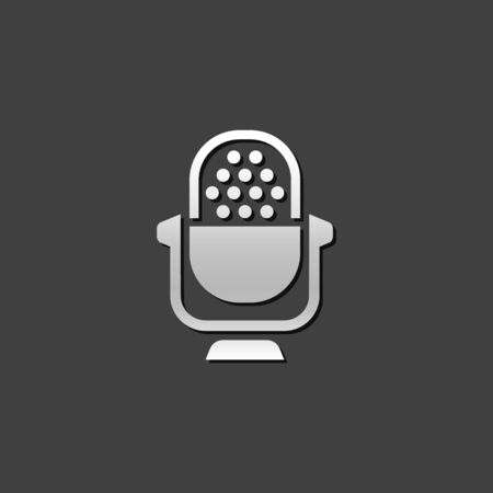 music: Microphone icon in metallic grey color style.