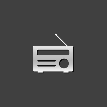 wireless icon: Radio icon in metallic grey color style. Communication broadcast media