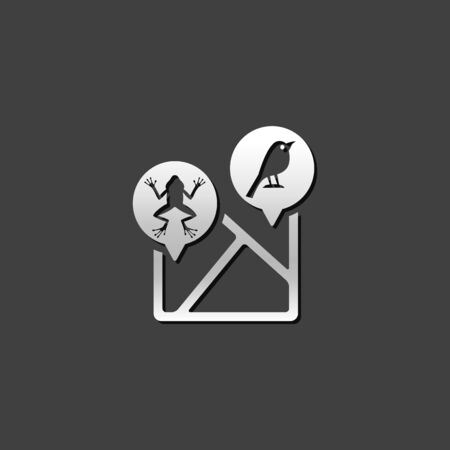signage: Zoo map icon in metallic grey color style
