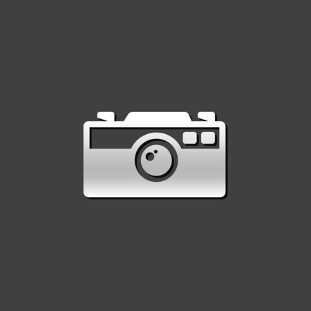 shiny metal: Range finder camera icon in metallic grey color style. Digital photography film