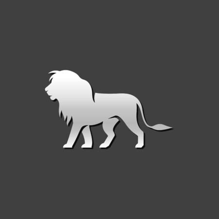 metallic: Lion icon in metallic grey color style mammal carnivore zoo Illustration