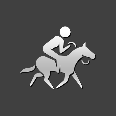 Horse riding icon in metallic grey color style. Sport championship race Illustration