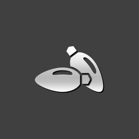 studio lighting: Studio lighting icon in metallic grey color style. Photography instrument lamp