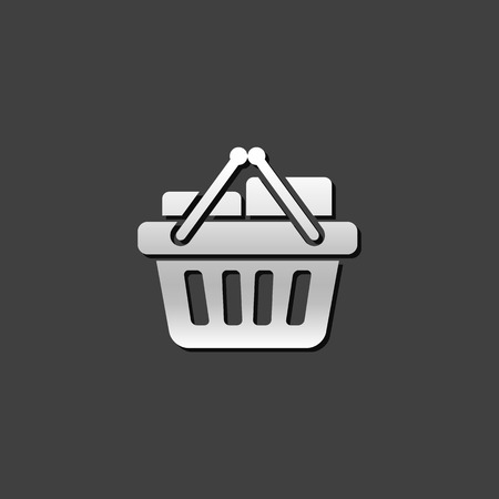 shiny buttons: Shopping basket icon in metallic grey color style. Buying ecommerce
