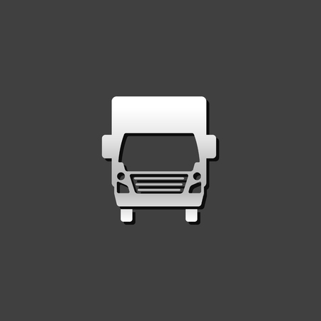 shiny metal: Military truck icon in metallic grey color style.War transportation. Illustration