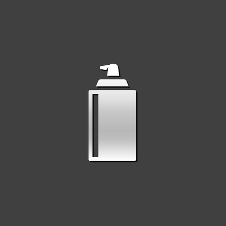 grey: Liquid spray icon in metallic grey color style. Paint disinfectant lubricant Illustration