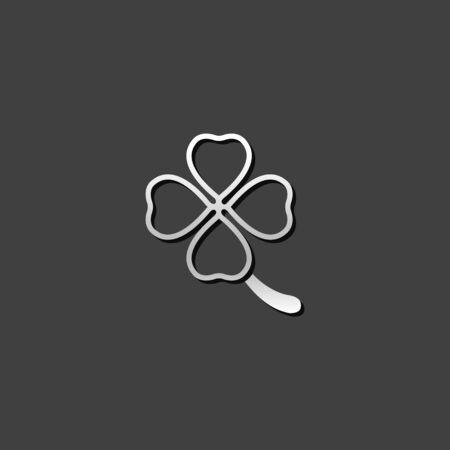 saint: Clover icon in metallic grey color style. Nature plant green