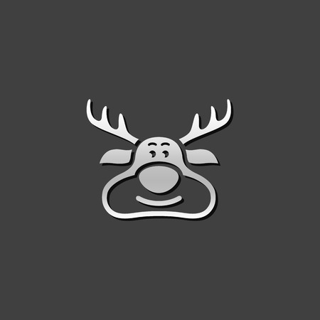 Rudolph the moose icon in metallic grey color style. animal Santa ride Illustration