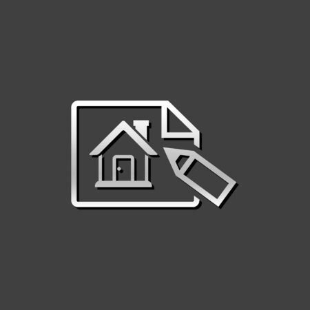 house construction: Blueprint icon in metallic grey color style. Property house design Illustration
