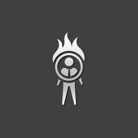 Businessman challenge icon in metallic grey color style. Illustration
