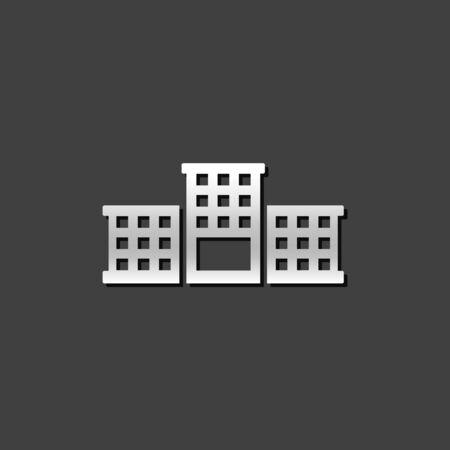 grey: Building icon in metallic grey color style.Education, school, college